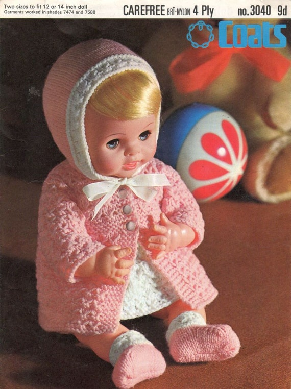 dolls pram suit vintage knitting pattern PDF instant download