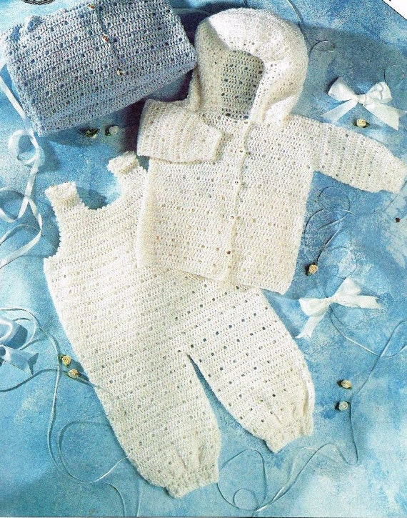 Crochet Pattern Baby Dungarees : crochet dungarees and hooded coat set vintage baby crochet