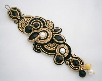 Black and Gold Soutache Bracelet