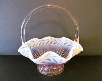 Tiara Indiana Glass Large PINK Laurel Pattern Vintage GLASS BASKET / Vintage Decor / Glass Bowl / Pink Glass / Art Glass