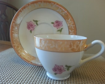 Vintage INARCO teacup and saucer from Japan, pink roses and orange trim,  E1038
