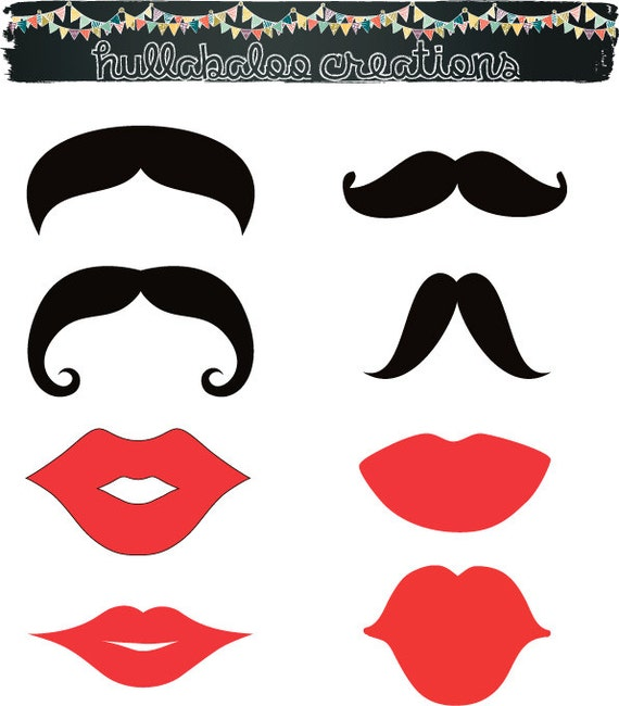 Items similar to DIY set of 8 Printable Lips and Mustaches ...