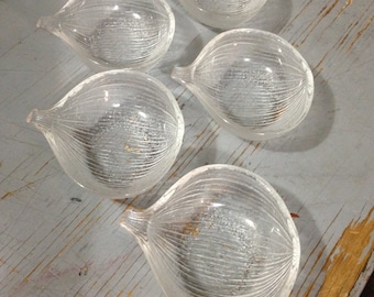 Vintage Crystal Onion Shaped Organic Patterned Bowls. Made in Japan by Hoya crystal Set of five Dipping or Appetizes Bowls