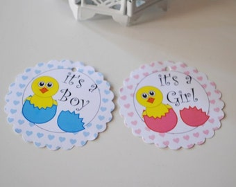 """It's a Boy Tags, It's a Girl Tags - Set of 15 -Chick Baby Shower Tags Favor Tags Girl Baby Shower Boy baby shower Scalloped Circles 3"""""""