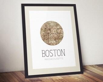 Boston Print - Boston Poster - Massachusetts Print - Massachusetts State Print - Boston Map - Boston Massachusetts