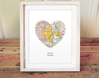 Omaha Heart Print, Nebraska Print, Heart Map Print, Choose Any Hometown, Custom Map Gift