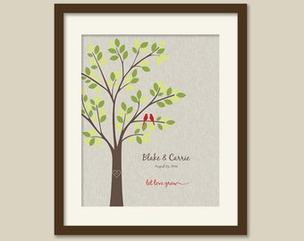Let Love Grow, Anniversary Gift Tree/Wedding Gift Tree/Two Birds/ Linen background -  8x10, 9x12, 11x14, and 12x16