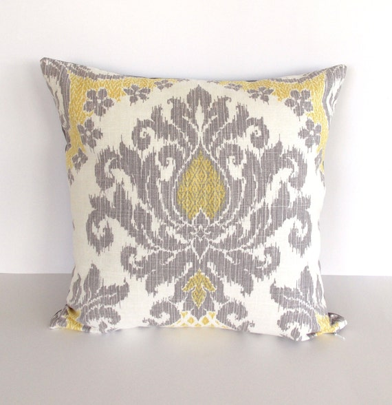 Items similar to Yellow and Gray Accent Pillow Cover - Yellow Throw Pillow - Gray Throw Pillow ...