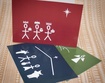 Muted Trio of Christmas Cards - Three Kings, Nativity & Shepherds
