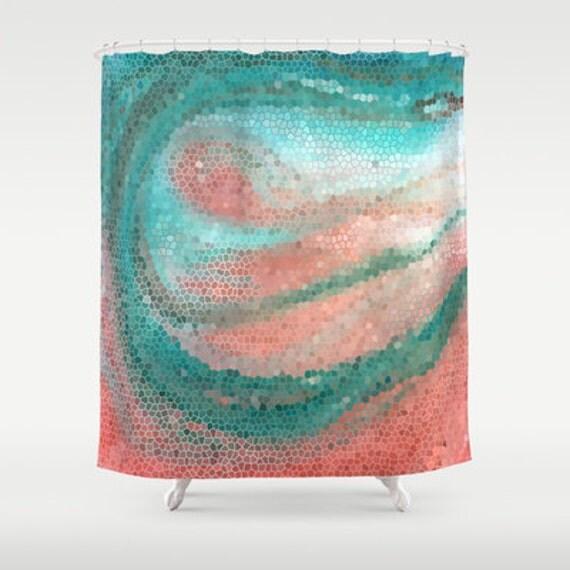 Beautiful Shower Curtain Mint And Peach Mosaic Beach