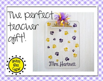 Teacher Clipboard and Cup SET Monogrammed Cup & Clipboard Set with Pawprints- Personalized Acrylic Cup, Acrylic Tumbler, Acrylic Clipboard