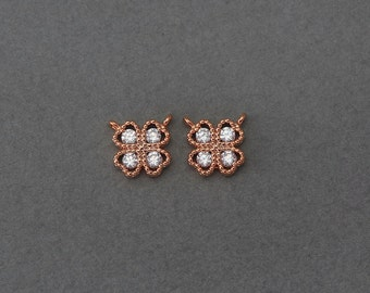 Clover Brass Pendant . Wedding Jewelry, Bridal Jewelry . Rose Gold Plated over Brass  / 2 Pcs - GC090-RG-CR