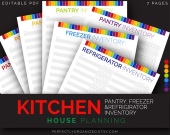Pantry Inventory Checklist, Freezer Inventory, Refrigirator Inventory || Rainbow Planner Organizer DIY || Household PDF Printables