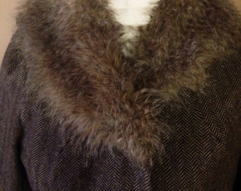 Herringbone Fur Collar Coat