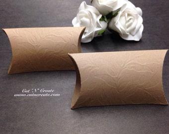Kraft Pillow Box Pillow Box Favor Pillow Boxes Custom Pillow Box Small Pillow Boxes Mini Pillow Boxes Kraft Leaf Embossed
