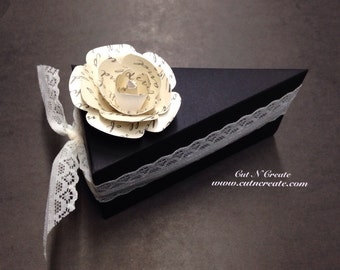 Cake Slice Boxes Cake Box Cake Slice Favors Cake Boxes Cake Slice Favors Black And Ivory Handmade Book Rose 12 Included