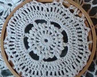 CROCHET Linen Cotton  fabric  HOOP ART. Wood frame