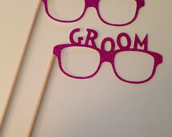 Bride and  Groom Glasses Photo Booth Props w/ Sticks
