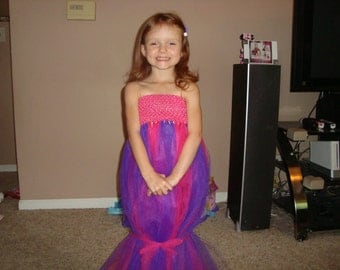 Oona Bubble Guppies inspired tutu dress, pink and purple dress with fin! Great for dress up and costumes.