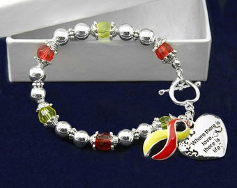 Red & Yellow Ribbon Bracelet - Where There Is Love (RE-B-01-28)