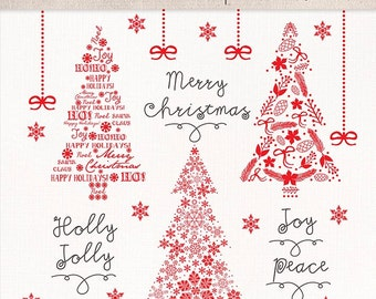 Clipart christmas tree, christmas clipart, winter clipart, red christmas clipart, snowflakes clipart, christmas ball