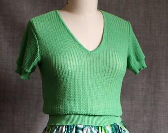 1970s Apple Green Summer Knit Top
