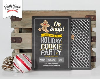 Holiday Cookie Party Invitation // Chalkboard Cookie Exchange // Cookie Swap // Cookie Decorating // Christmas Printable Invite // CE01