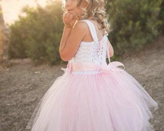 Flower girl tutu dress, beach flower girl dress, crochet tutu dress, toddler tutu, girl's tutu dress