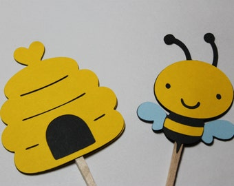Bumble Bee and Bee Hive Cupcake Toppers, Cake Toppers