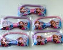 5-10 Packs DISNEY FROZEN Birthday Favor Hair Bow Elastic Hair Ties Hairbows
