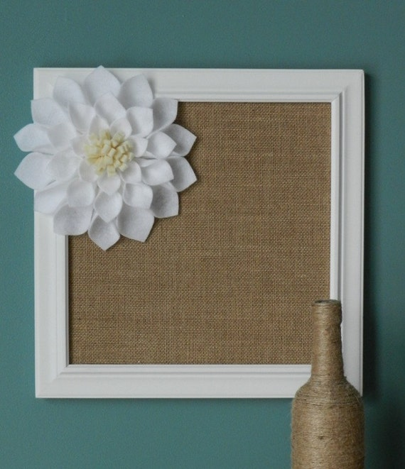 Burlap covered framed cork board with large white felt for How to decorate a cork board
