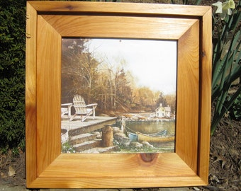 Stacked frame rustic frame picture frame natural cedar wood frame tung oil finish picture frame