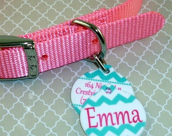Personalized double sided ID tag--Pet Tag--Teal Chevron--Name