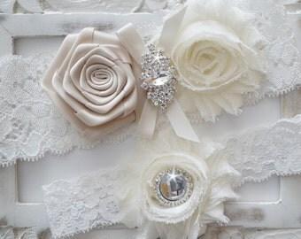 Wedding Garter Set, Bridal Garter Set, Vintage Wedding, Ivory Lace Garter, Ivory Bridal Garter