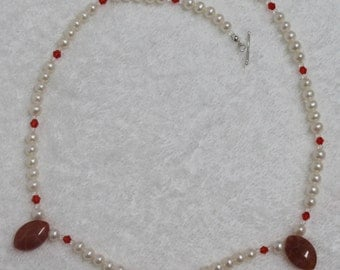 VNK58 White Potato Freshwater Pearls with Red Crystal and Agate Necklace
