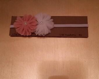 Blush and white flower newborn headband