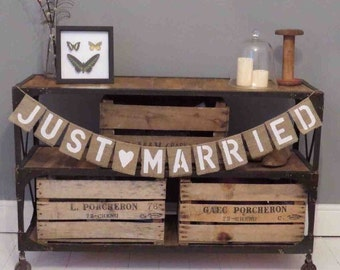 Hessian Burlap Just Married wedding banner bunting