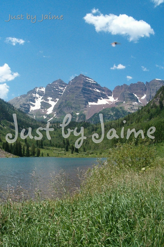 Maroon Bells with a Lake professionally printed photo -- available in 5x7 or 8x10 (larger sizes by request) -- matte lustre finish