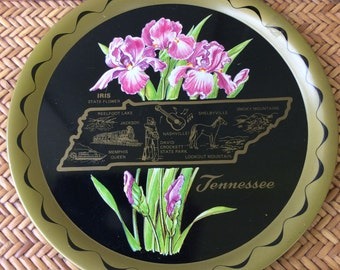 """Vintage Metal State Tray/Plate - """"Tennessee"""" - Beautiful Colors  - Very Good Condition - Feaures State Flowers (Iris) and Attractions"""