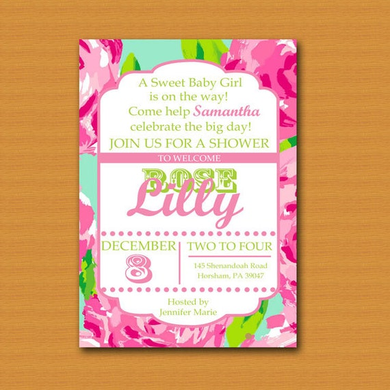 Lilly pulitzer inspired invitation baby shower baby sprinkle il570xn filmwisefo
