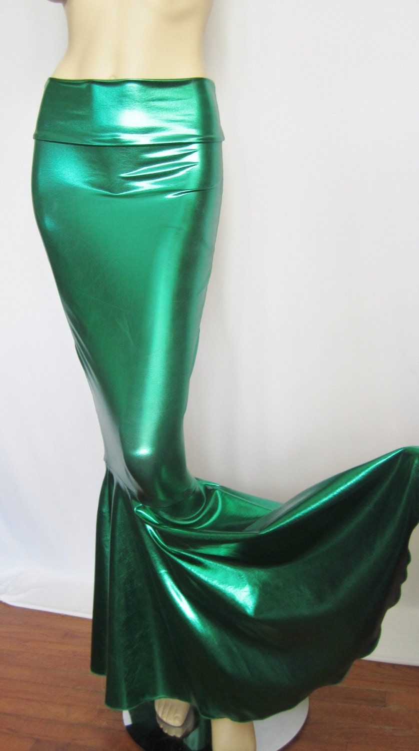 High Waist Green Metallic Mermaid Skirt Fish tail Stretch
