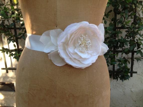 Sash, Silk Rosette Bridal Sash,  Ivory Silk Rose Sash