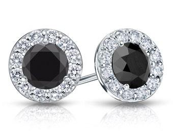 14k Gold Halo Round Black Diamond Stud Earrings 3.00 ct. tw.
