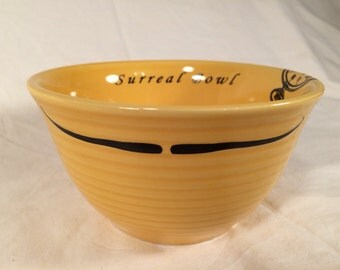 Funny Salvador Dali Surreal bowl yellow, orange, red, green,  cereal bowl, inspired by Dali's persistence of memory, ceramic kiln fired