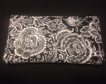Black and White Paisley Skulls Pencil Case / Zipper Pouch, Coin Purse, Wristlet, or Cosmetic Bag #8