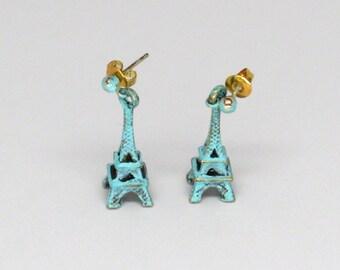 Patinaed Blue Eiffel Tower Earrings by petite simone for simone bijoux, Paris earrings, blue eiffel tower earrings, French earrings