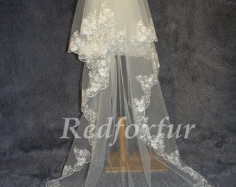3 m cathedral veil, ivory white Alencon Lace Veil
