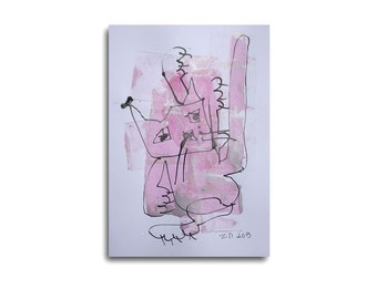 Dancing Cat - Drawing 8,3 x 11,7 inch pink silver