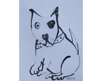 Bulli - Original Drawing free shiping - ink Gouache animal Aquarell black white 8,2x5,5 inch