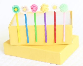 Girl's Flower Bobby Pins, Little Flower Hair Accessories, Resin Flower Hair Clips, Flower Cabochon Hair Pins Set